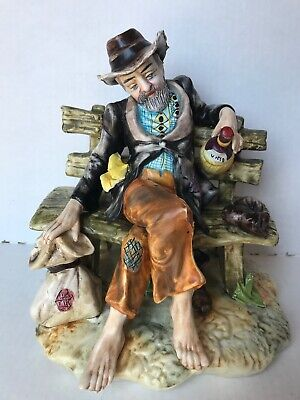 Capo di Monte Porcelain Style Figurine Reduced Hobo on a Bench