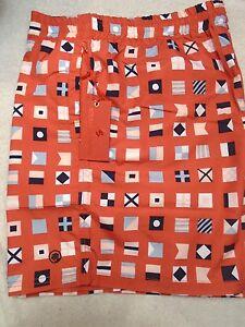 Southern-Proper-Nautical-Flags-Pattern-Swim-Trunks-NWT-XXL-79-50-Madras-Red