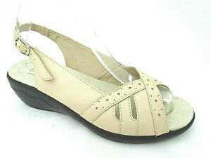 HOTTER-ELLA-LADIES-BEIGE-LEATHER-CASUAL-STRAPPY-SANDALS-WOMENS-UK-6-EUR-39