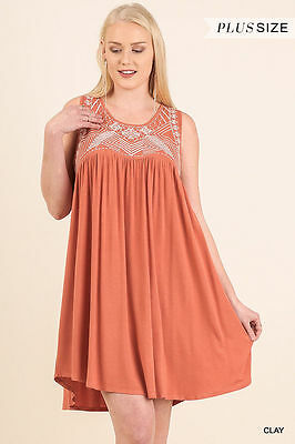 UMGEE Plus XL Sleeveless Embroidered Knit Dress in Clay WC0158