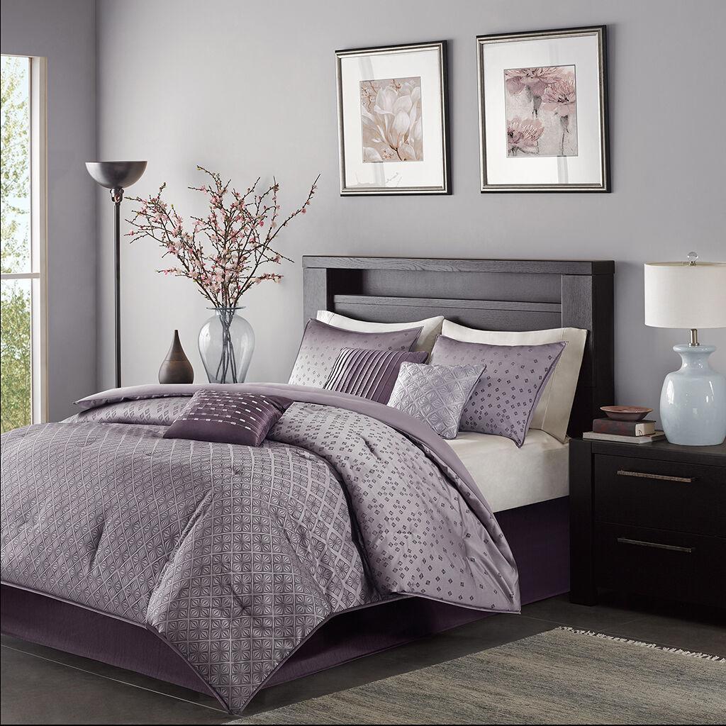 Beautiful lila grau Blau Jacquard Sequins  Comforter 7 pcs Set Cal King Queen