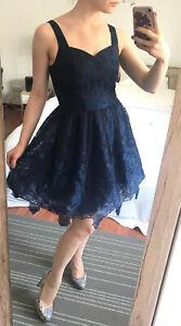 Kleid Chi Chi London Blau Cocktailkleid Midikleid Gr 34 Xs Uk 8 Spitzenkleid Ebay