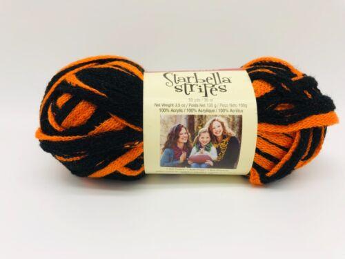 Premier Yarns Starbella Stripes All Star Orange Black #17-16 Single Skein Ruffle