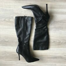 Spot On F50335 Ladies Black Synthetic and Lycra Stiletto Heeled Knee High Boots