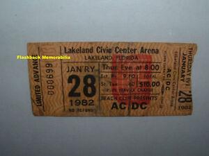 ac dc 1 28 1982 globe concert ticket stub lakeland fl civic center rare ac dc ebay. Black Bedroom Furniture Sets. Home Design Ideas