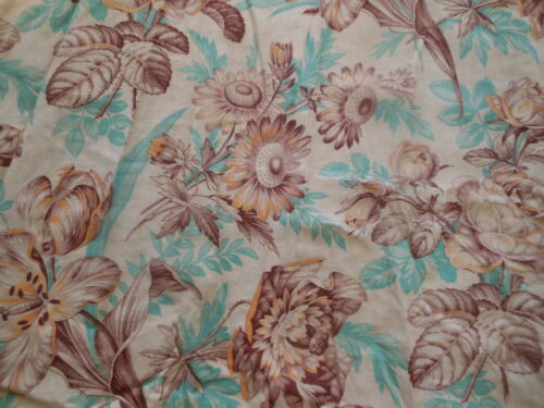 Antique French Roses Sunflower Floral Toile Cotton Fabric ~Aqua Eggplant Yellow