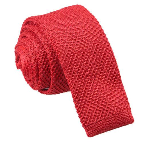 DQT Knit a Maglia Plain Solid Crimson Red casual da uomo Attillati Tie