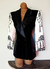 VTG Escada Black Velvet Silk Tassel Embroidered Dressy Blazer Coat Jacket 38 S 6