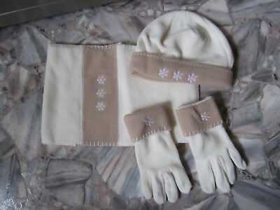 Fleeceset 3 -tlg. Winter Mütze ~ Handchuhe ~ Schal ~ Weiß & Beige ~ Schneeflocke