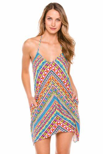 $144 Trina Turk Peruvian Stripe Geometric Stretch Halter Cover Up Dress