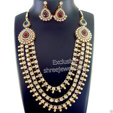 Designer Gold Plated Stone Kundan Necklace Earring Ethnic New Party Jewelry Set