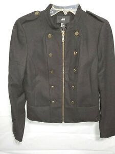 HM-Womens-Zip-Up-Double-Breasted-Pea-Coat-Wool-Jacket-Size-6