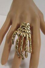 New Women Metallic Gold Skeleton Hand Ring Gothic Fashion Metal Elastic Band