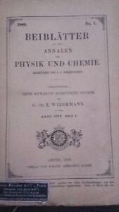 Rivista Beiblatter N° 7 Zu Den Annalen Der Physik Und Chemie 1889 Lipsia Verlag