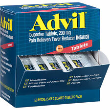 Advil Ibuprofen Coated Tablets 200 mg, 50/2 Pks  Pain Reliever/Fever Reducer