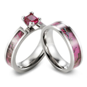 Pink Muddy Girl Camo Engagement Wedding Ring Set With Ruby Inlay