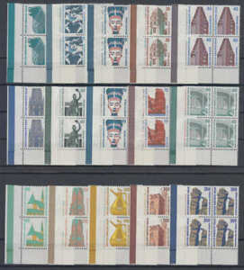 BERLIN-Sehenswuerdigkeiten-kpl-Satz-4er-Blocks-Eckrand-Ecke-3-postfrisch