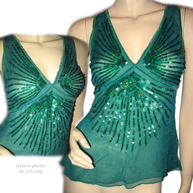 BCB GIRLS Sleeveless Sheer Glitter Sequin Top Blouse M Clubwear Party Tops Grün