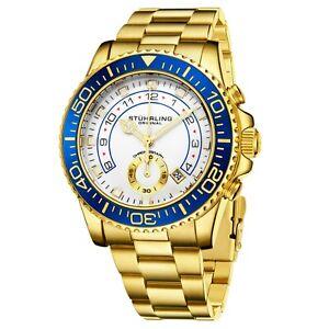 Stuhrling Men's Chronograph Diver 10 ATM White Dial Gold Bracelet Sport Watch