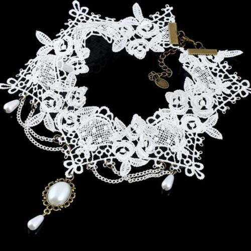 1 PC Handmade Neuf avec étiquettes fleur lolita dentelle blanche perle collier tour de cou Col Bridal