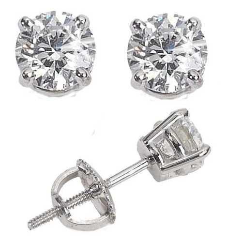 Mens Las White 10k Gold Over Silver Lab Diamond Earrings Back Studs Ebay