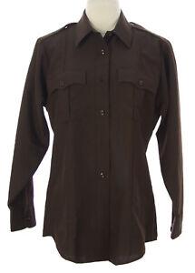FLYING-CROSS-Women-039-s-Brown-LS-Button-Front-Uniform-Shirt-42-NEW