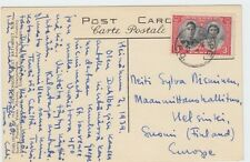 3 cent Royal Visit stamp single use to  ** FINLAND ** post card 1939 Canada