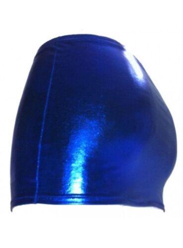 F.Girth Größen 44-52 blauer Wetlook Minirock Metallic-Effekt
