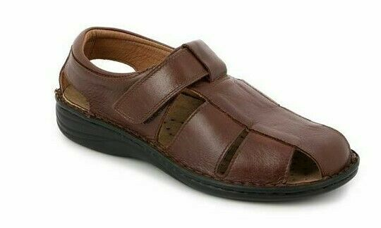 GRUNLAND Sandals Mens Real Leather Footbed Trundle Linen se0015 chocolate
