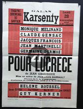 POUR LUCRECE Giraudoux THEATRE Christian DIOR CASSANDRE Barrault AFFICHE 1955