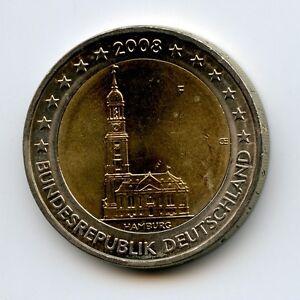 Deutschland 2 Euro Münze 2008 Hamburg Hamburger Michel F
