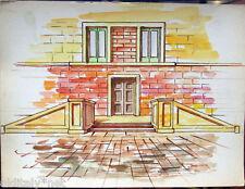 Acquerello '900 su carta Watercolor Architettura futurista cubista razionale-113