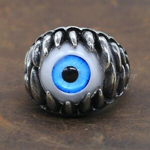 Blue ALL SEEING EYE FANGS RING Evil Eyeball Gothic Biker Stainless Steel Jewelry