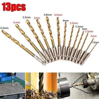 13Pc HSS SPIRAL SHANK DRILL BIT SET 1.5mm 6.5mm Small-Large Precise Twist Pack