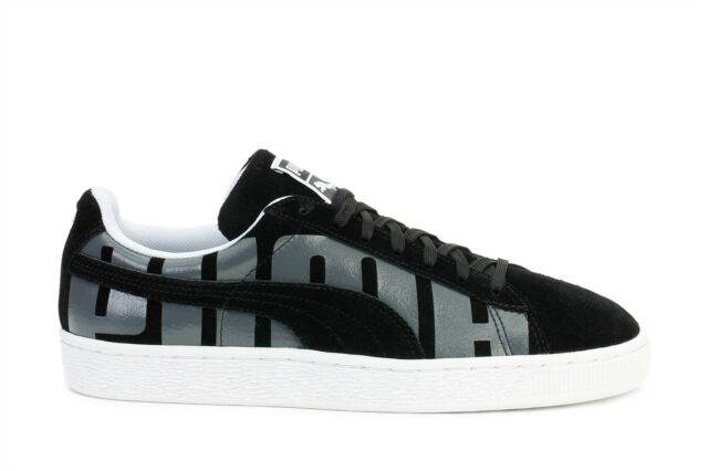 Puma Mens Sneakers Suede Classic Plus Big Logo Black Asphalt White 360195 01