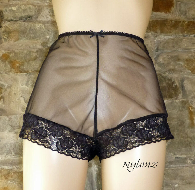 Nylonz Sheer 100% Nylon French Knickers Panties Black Vintage Style Made In Uk