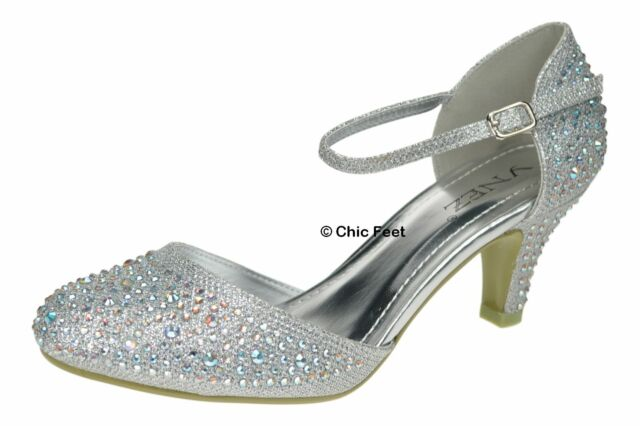 7e8de03cbde2 NEW SILVER GLITTER WOMENS PARTY DIAMANTE EVENING WEDDING BRIDAL SIZE 3 - 9  UK