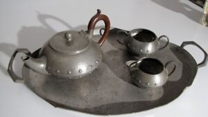 Teapot Arts And Crafts Style Beaten Pewter Tea Service W&co England Refreshing And Enriching The Saliva Arts & Crafts Movement Periods & Styles