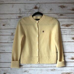 Ralph-Lauren-XS-Yellow-100-Lambswool-Long-Sleeve-Button-Down-Cardigan-Sweater