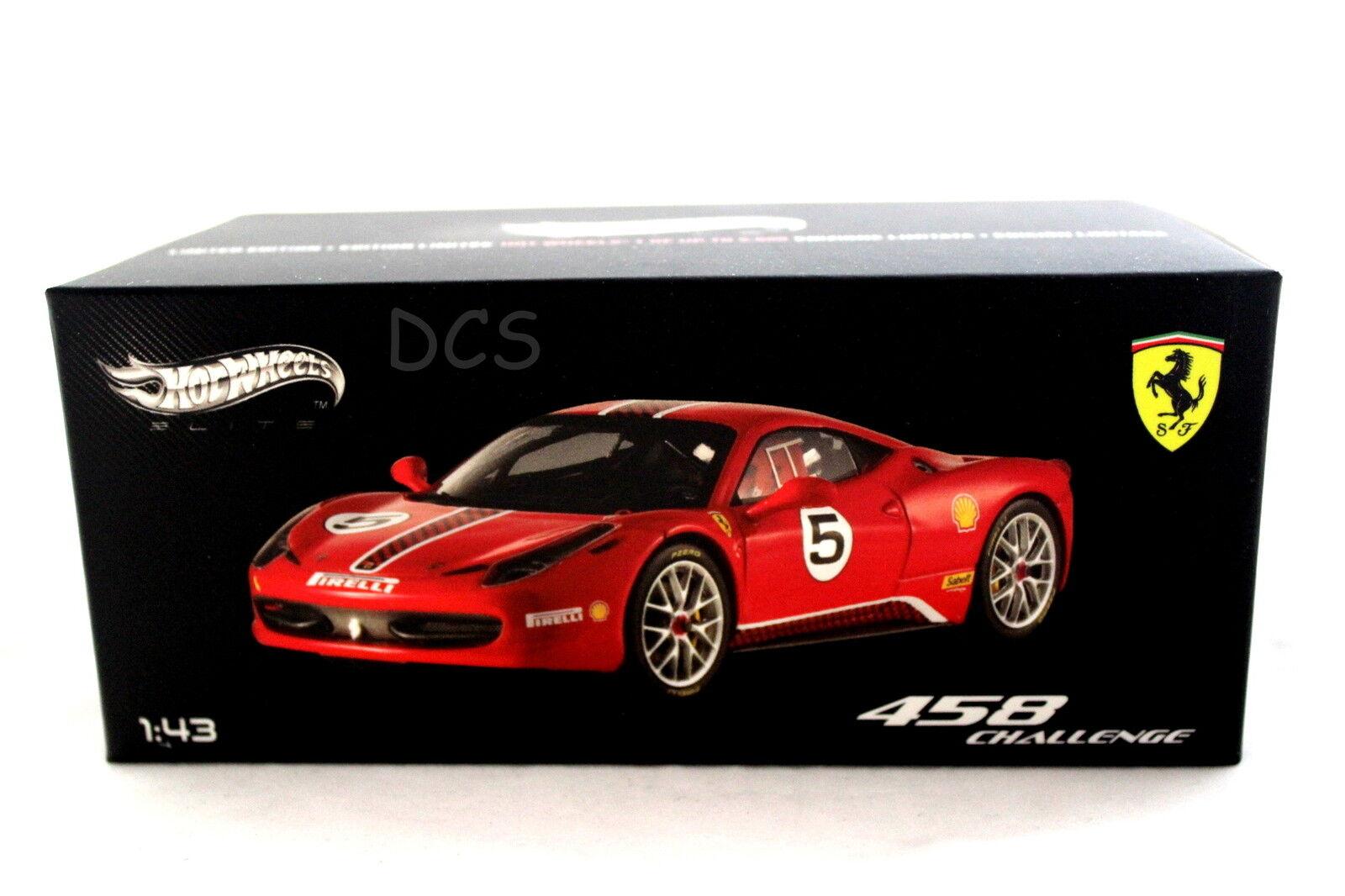 FERRARI 458 CHALLENGER RED HOT WHEELS ELITE 1 43 DIECAST CAR