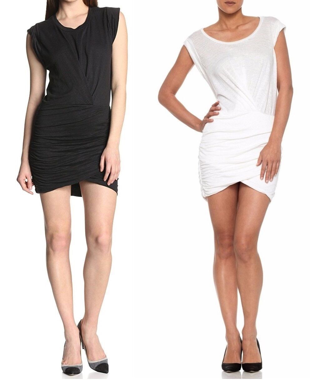 Joe's Jeans Mikaela Dress Stretch Linen Ruched Wrap Jersey Top XS S M L Nwt