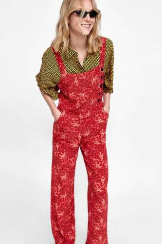 Zara Woman Premium Denim COLLEZIONE Overall Jumpsuit Red printed Dungarees
