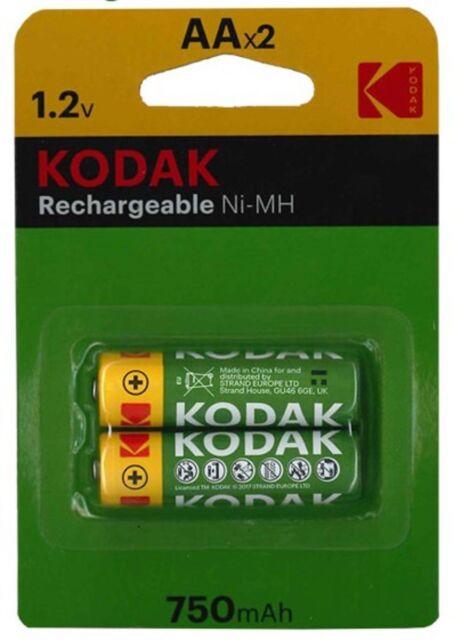 2 XKodakAA 750mAh RECHARGEABLE  1.2 V Ni-MH Batteries nimh RC car etc