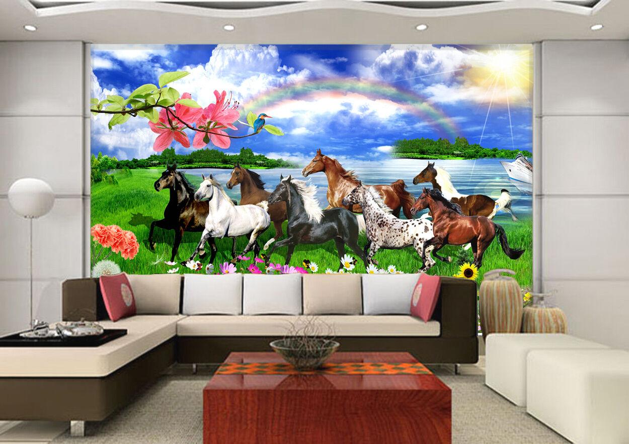 3D Horse Grassland 4 Paper Wall Print Decal Wall Wall Murals AJ WALLPAPER GB