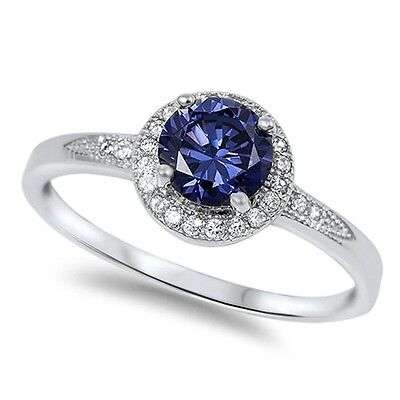 .925 Sterling Silver Halo Solitaire Tanzanite Clear CZ Promise Ring Size 5-1 NEW