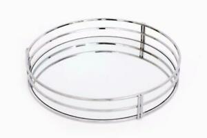 Silver Metal Vintage Mirror Glass Candle Drink Display Decorative Round Tray Ebay