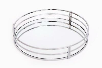 Mirror Glass Crystal Decorative Vintage Silver Metal Plate Drinks Display Tray