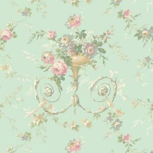 Wallpaper-Designer-Victorian-or-French-Floral-Urn-Pearlized-Green-Background