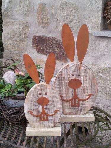Bois Lapin avec decoration Pâques Décoration Sideboard habitent Joyeuses à la main Edelrost