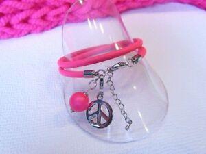 Armband - Neonpink Charm Peace Polaris Nappaleder Mädchen Pink Rosa Geburtstag
